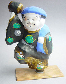 Miharu Hariko Papier-mache Doll, Daikoku, God of Wealth