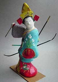 Miharu Hariko Papier-mache Doll, Dancing Maiden