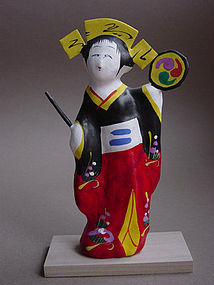 Miharu Hariko Papier-mache Doll, Dancing Girl with Drum