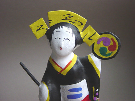 Miharu Hariko Papier-mache Doll, Dancing Girl with Drum
