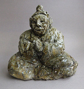 Buddha seated in prayer, Ceramic Sculpture