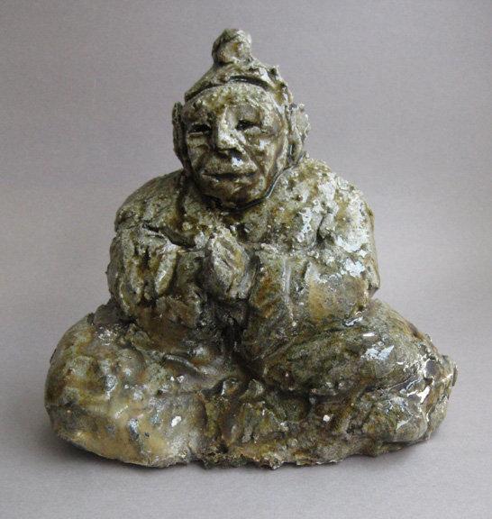 Buddha seated in prayer, Ceramic Sculpture