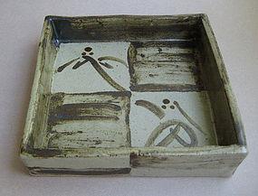 Square Plate, Mashiko-yaki, by Tagami Isamu