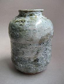 Vase, Shino and Bamboo Ash Glaze, Sachiko Furuya