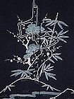 Futon-ji, Bed Covering Cloth, Indigo, Tsutsugaki