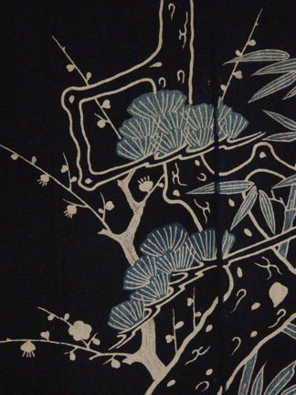 Futon-ji, Bed Covering Cloth, Indigo, Tsutsugaki