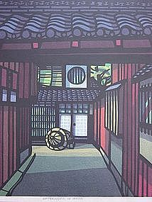 "Clifton Karhu Woodblock Print ""Afternoon in Gion"", 1978"