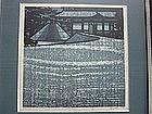 """Clifton Karhu Woodblock Print """"Ginkakuji Garden"""", 1979"""