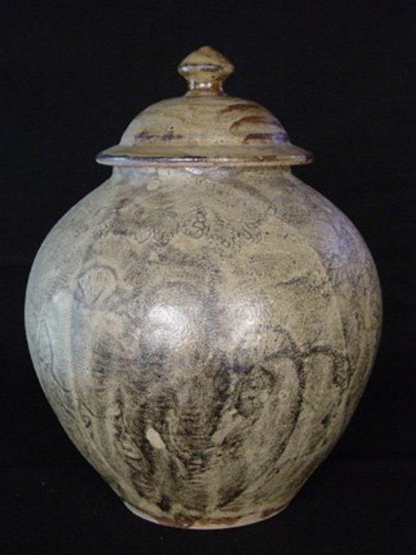 Mashiko Yaki Lidded Jar; Oushima Shou, ca. 1965