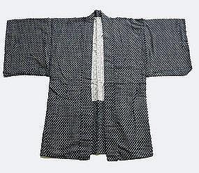 Kasuri Haori; Indigo-dyed Ikat Woven Kimono Over Jacket
