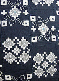 E-Gasuri (Picture Kasuri) Futonji; Ikat Bed Cover,Japan