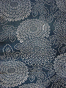 Katazome Futonji, Stencil-Dyed Bed Cover, Chrysanthemum