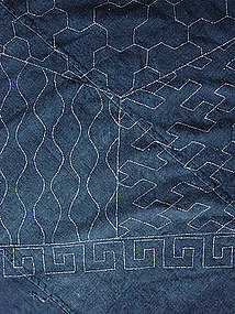 Furoshiki, Wrapping Cloth, Indigo dyed, Sashiko quilted