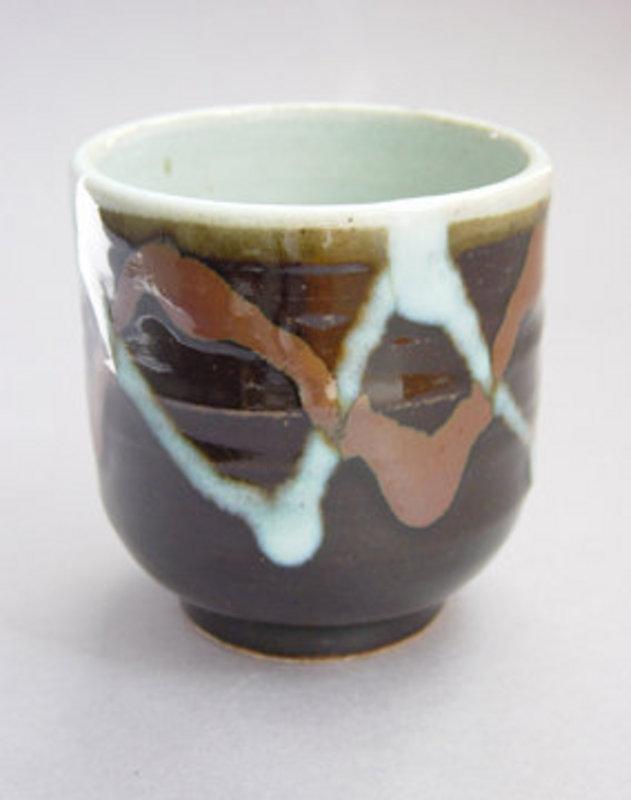 Mashiko Tea Cup, Yunomi, Kaki-Black Glaze, Hand-thrown