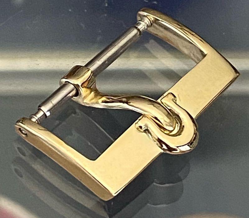Vintage Omega 18k Gold .750 fine 16mm Logo Buckle C:1970
