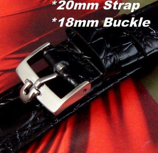 Omega 20mm Crocodile pattern Calf Leather Strap 18mm Logo Buckle