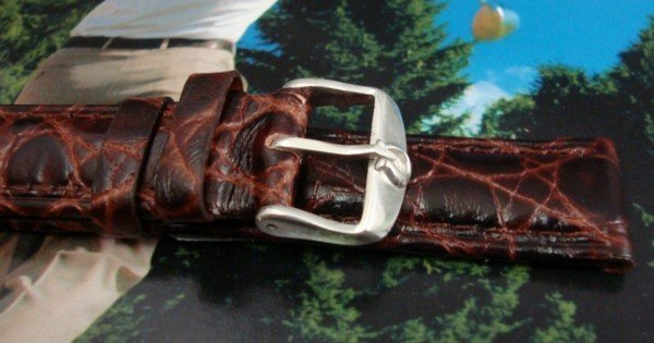 OMEGA 16mm Silver Logo Buckle 18mm African Croc Brown
