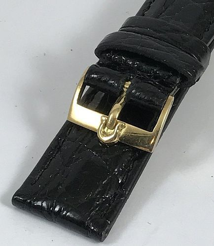 OMEGA 18k Gold 16mm Logo Buckle on 18mm Crocodile Strap