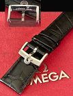 OMEGA Speedmaster Model 20mm Croco Black Strap Steel Omega Buckle