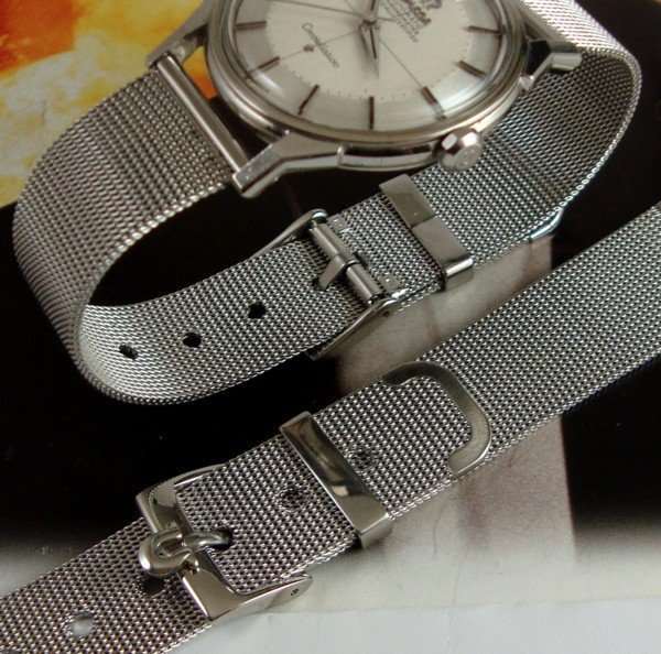 OMEGA Constellatio 16mm Logo Buckle 18mm Old Style MESH METAL Strap
