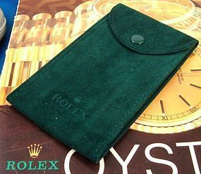 Green Suede Pocket Pouch, Marked: ROLEX  Size: 5 by 3 inches