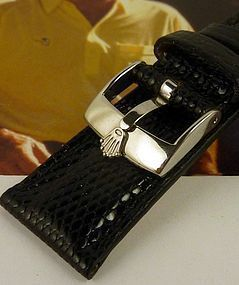 ROLEX 16mm Logo Steel Buckle 19mm Genuine Black LIZARD