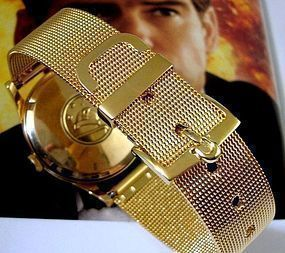 OMEGA 16mm Yellow Buckle 18mm Yellow Mesh Metal Strap     OUT-OF-STOCK