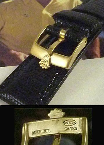 Vintage Rolex DATE Series 16mm Yellow Logo Buckle 19mm Black Lizard