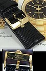 ROLEX 18k GOLD Logo Buckle 19mm Black Genuine Lizard Strap