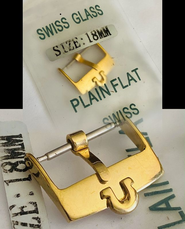 Omega 18mm Yellow 18k Gold Plated marked PLAQUE SWISS Logo Buckle