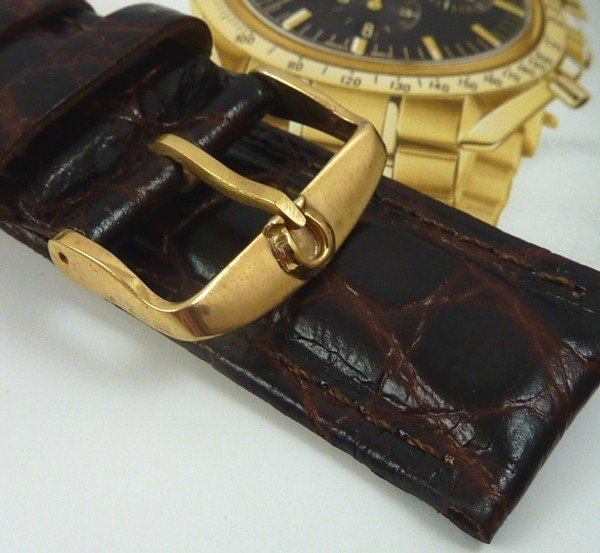 Omega 20mm Yellow Logo Buckle 22mm Dk Brown Strap