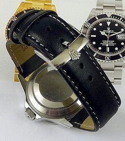 ROLEX SUBMARINER GMT Explorer Model 20mm stitched Black Leather