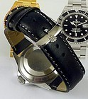 ROLEX SUBMARINER GMT Explorer Model 20mm stitched Black Leather
