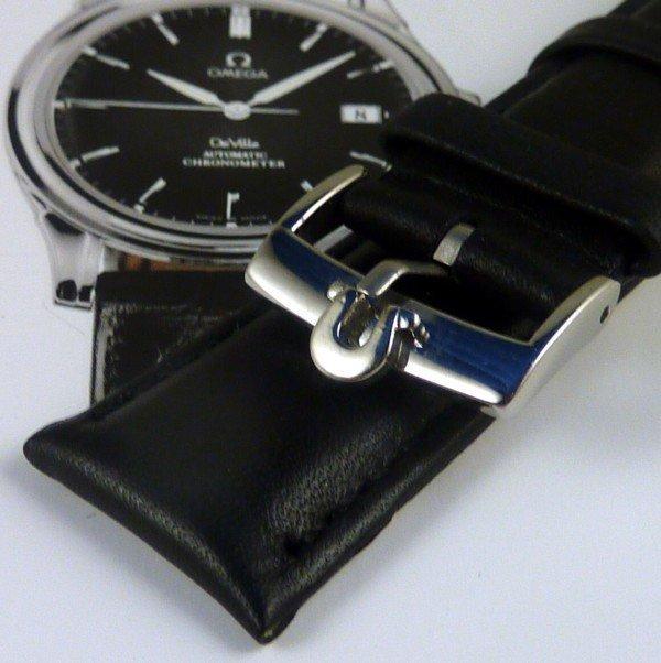 OMEGA Speedmaster Series 20mm Plain Black Leather Strap