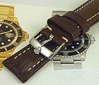 ROLEX SUBMARINER GMT Explorer Dk Brown 20mm stitched SUISSE QUALITE