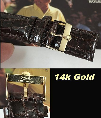 Vintage 14k GOLD Rolex 18.5mm Buckle 20mm Tobacco CROCODILE C:1972