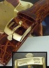 ROLEX 16mm Logo Buckle Gold Plate Men's LONG 20mm Natural CROCODILE