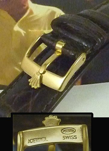 ROLEX 16mm Logo Buckle 18k Gold Plate 19mm Tobacco CROCODILE
