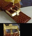ROLEX 16mm Logo Buckle 18k Gold Plate 20mm Natural LIZARD