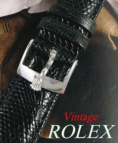 Vintage ROLEX 16mm Logo Buckle Steel 20mm Black genuine LIZARD Strap