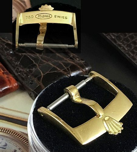 Vintage ROLEX 18k GOLD 16mm Logo Buckle 750 ROLEXSA SWISS 1970's