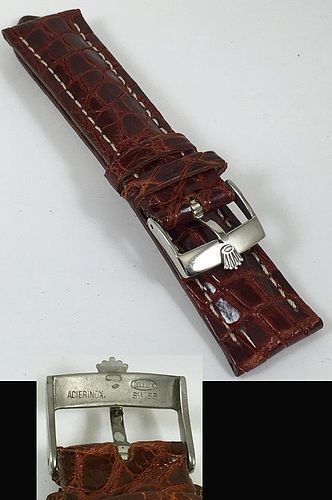 ROLEX 18mm Steel Logo Buckle 20mm Natural CROCODILE Strap