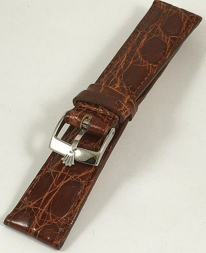 ROLEX 16mm Steel Logo Buckle 20mm CROCODILE Cognac Strap