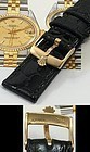 ROLEX 18k Gold Plate 16mm Logo Buckle 20mm Black Genuine CROCODILE