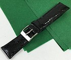 Genuine CROCODILE 19mm STRAP Padded Stitched Black High Grade ITALIAN