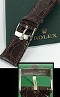 ROLEX DATEJUST II 18mm Steel Logo Buckle 22mm Tobacco CROCODILE