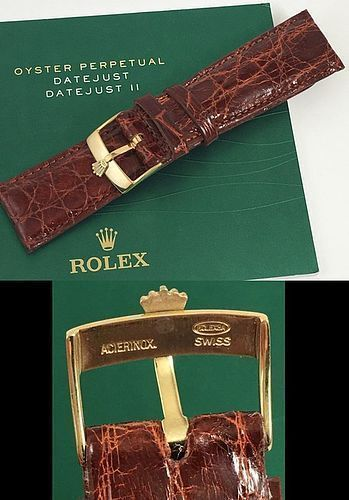 ROLEX DATEJUST II 18mm Yellow Logo Buckle 22mm Cognac CROCODILE