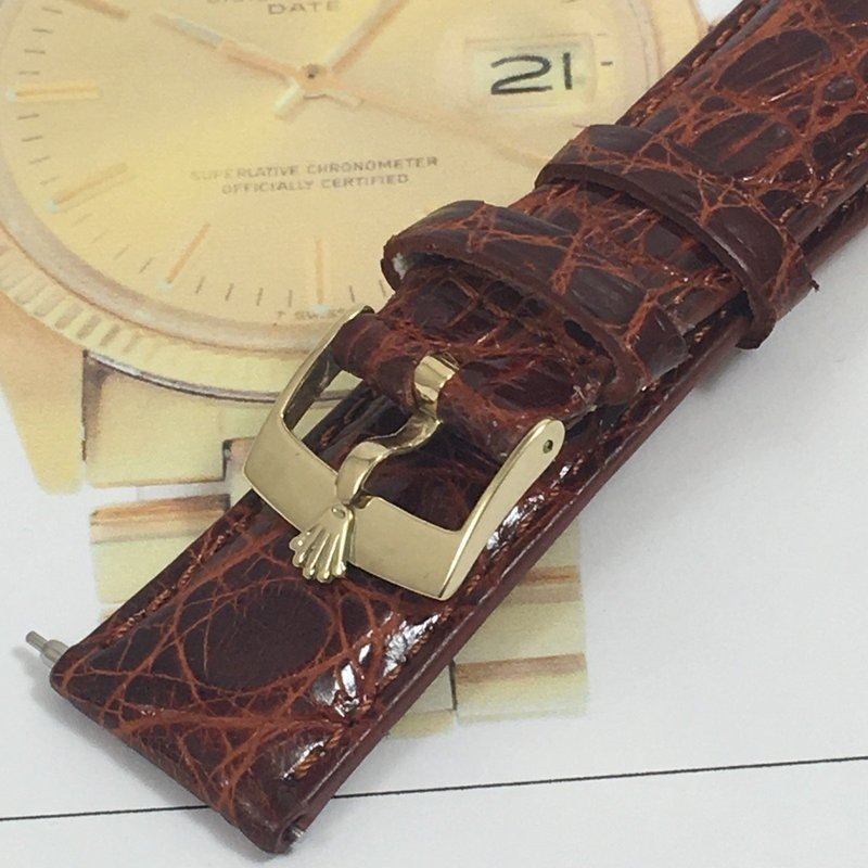 Vintage ROLEX DATEJUST 14k GOLD Buckle 20mm Cognac CROCODILE Strap