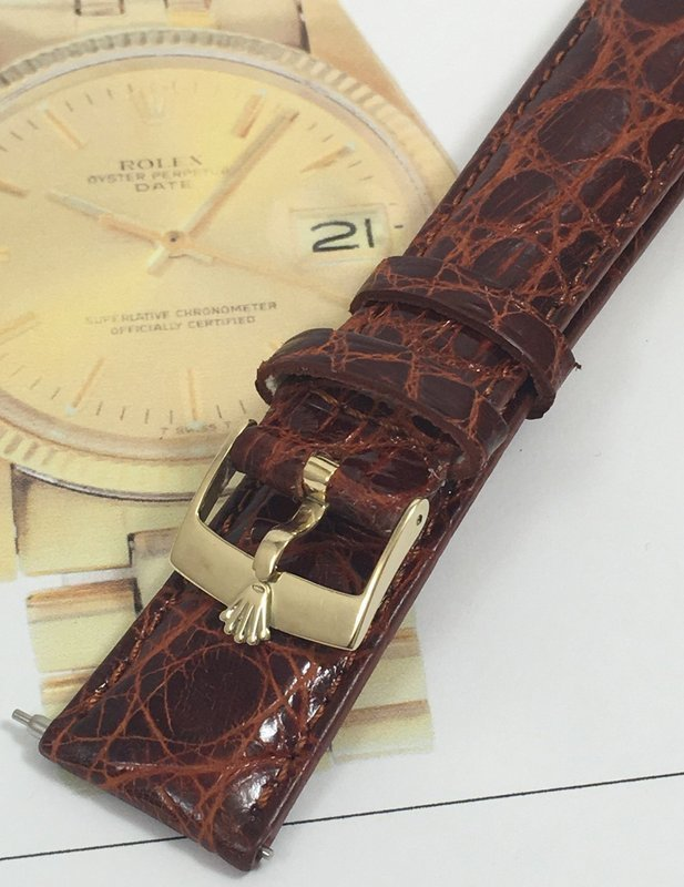 Vintage ROLEX DATEJUST 14k GOLD Buckle 20mm Cognac CROCODILE Strap