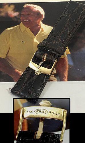 Vintage ROLEX DATEJUST 14k GOLD Buckle 20mm Tobacco  CROCODILE Strap